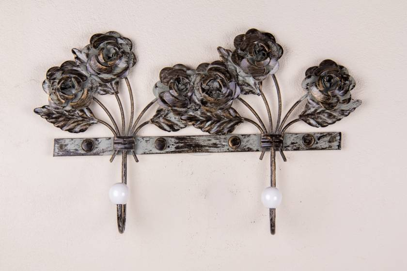 Hooks: Roses: Antique Grey