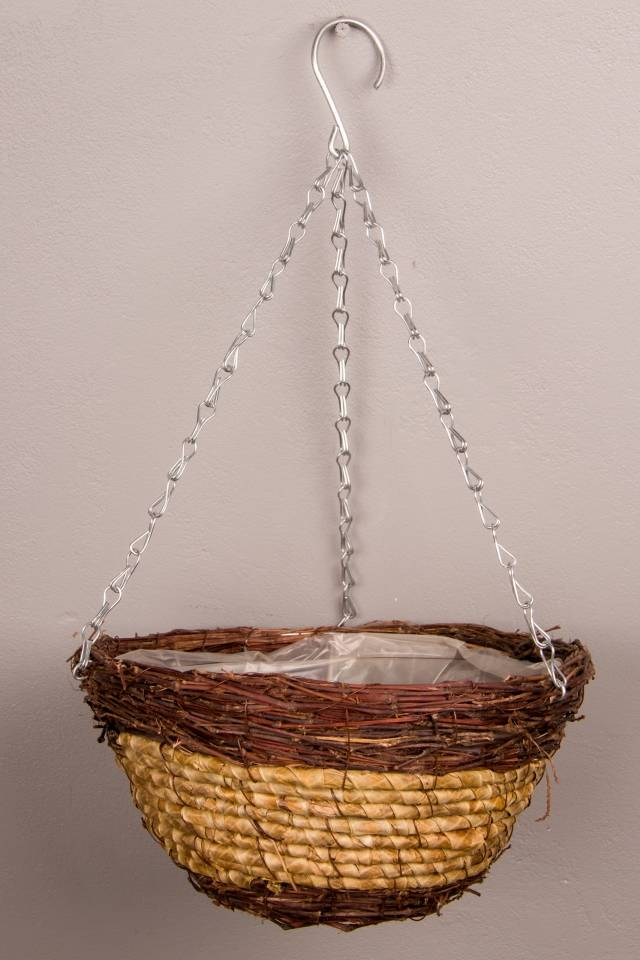 Rustic Basket: Hanging: Two Tone