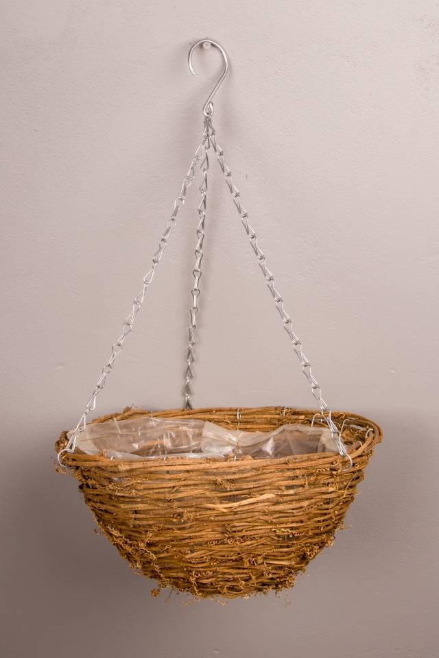 Rustic Basket: Hanging: Dark: Large